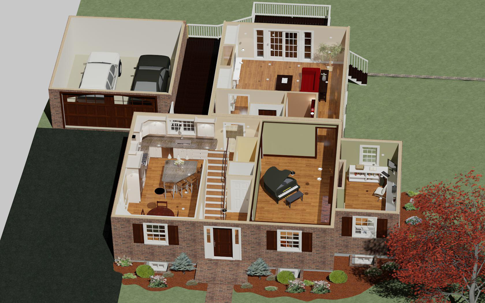 doll house view colonial house. beautiful ideas. Home Design Ideas